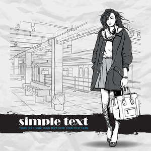 Pretty Winter Fashion Girl On A Subway Station. Vector Illustration