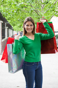 Pretty woman shopping presents for christmas