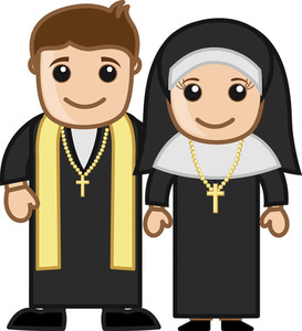 Priest And Nun - Vector Character Cartoon Illustration