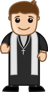 Priest Blessings - Vector Cartoon