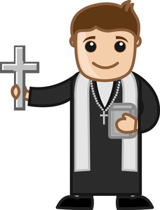 Priest - Vector Character Cartoon Illustration