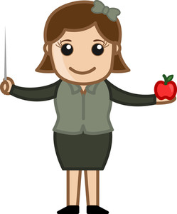 Primary School Teacher - Cartoon Bussiness Vector Illustrations