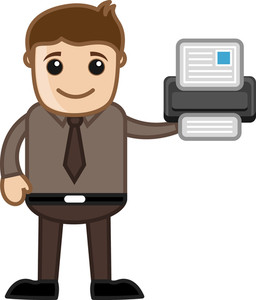 Printer - Business Cartoons Vectors