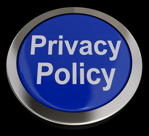 Privacy Policy Button In Blue Showing Company Data Protection Terms