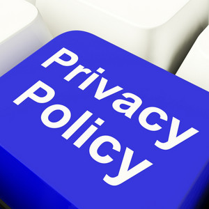 Privacy Policy Computer Key In Blue Showing Company Data Protection Terms