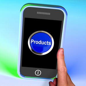Products Button On Mobile Shows Internet Shopping Goods