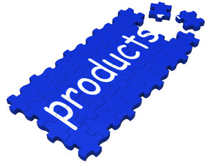 Products Puzzle Shows Shopping Or Merchandise