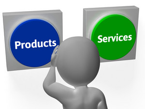 Products Services Buttons Show Merchandice Or Services Selling