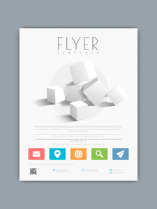 Professional business flyer banner or template with 3D cubes and web icons.