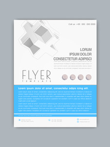 Professional business flyer banner or template with abstract design in blue and white color.
