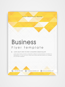 Professional business flyer template or brochure design in white and yellow color.