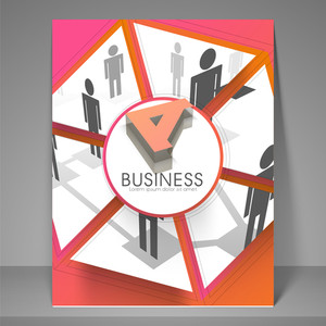 Professional business flyer template or brochure design with employee.