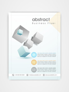 Professional business flyer template or brochure design with shiny cubes.