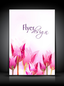 Professional Business Flyer Template Or Corporate Banner With Tulip Flowers For Publishing