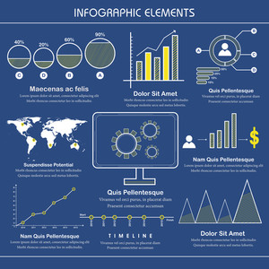 Professional Business Infographic template with various statistical graph