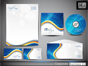 Professional Corporate Identity Business Kit With Abstract Wave Pattern .
