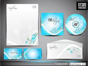 Professional Corporate Identity Kit Or Business Kit With Abstract Wave And Water Drops.