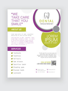 Professional Dental Treatment flyer banner or template design for Dentist.