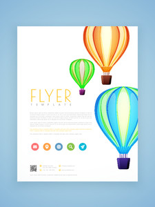 Professional flyer template or brochure design decorated with beautiful hot air balloons.