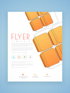 Professional flyer template or brochure design with blocks for corporate sector.