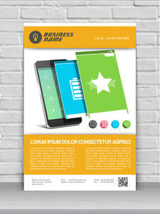 Professional one page business flyer template or banner for mobile user interface.