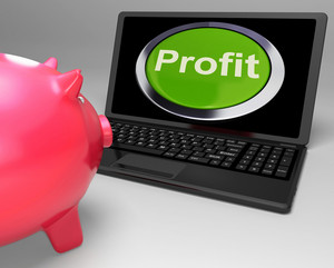 Profit Button On Laptop Shows Financial Growth