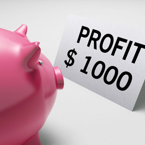 Profit Dollars Shows Revenue Earnings Piggy Savings