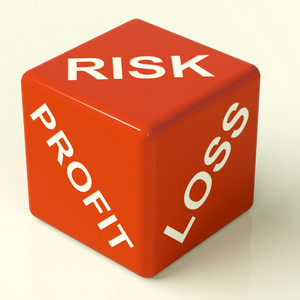 Profit Loss And Risks Dice Showing Market Uncertainty