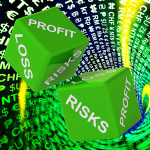 Profit, Loss, Risks Dice Background Shows Risky Investments
