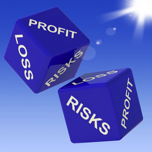Profit, Loss, Risks Dice Showing Incomes