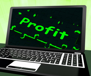 Profit On Laptop Shows Profitable Earns