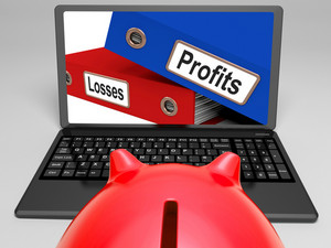Profits And Looses Files On Laptop Shows Expenses