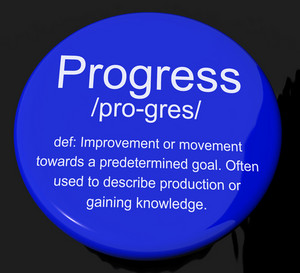Progress Definition Button Showing Achievement Growth And Development