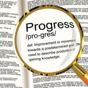Progress Definition Magnifier Showing Achievement Growth And Development