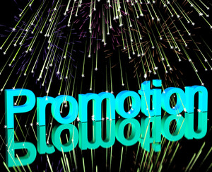 Promotion Word With Fireworks Showing Sale Savings Or Discounts