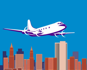 Propeller Airplane Taking Off With Buildings