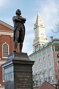 Public statue of Samuel Adams in Boston Massachusetts near Quincy Market.