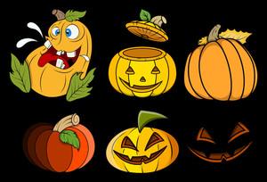 Pumpkins And Jack O' Lantern Vector Set