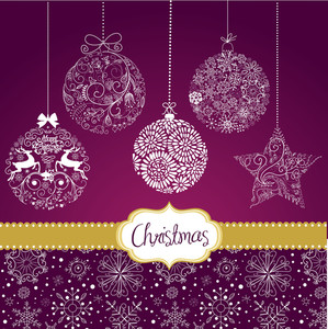 Purple And White Christmas Ornaments. Card Template