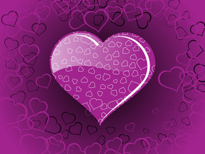 Purple Color Heart-shape With Macro Design