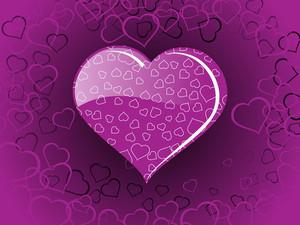 Purple Color Heart-shape With Macro Design