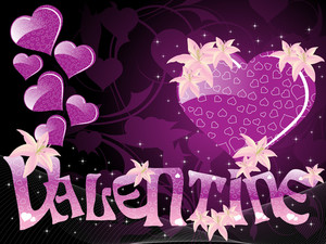 Purple Color Valentine Card With Flower