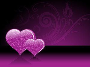 Purple Floral Pattern With Set Of Heart
