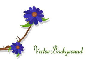 Purple Flowers Branch Vector Banner