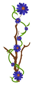 Purple Flowers Branch Vector Design