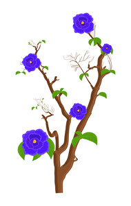 Purple Flowers Branches Design