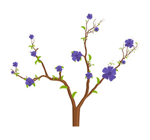 Purple Flowers Tree Branches