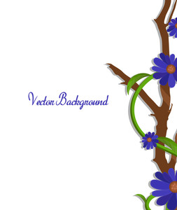 Purple Flowers Vector Branch Border Vector