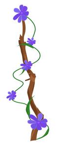 Purple Flowers Vector Branch