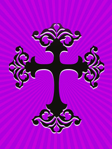 Purple Rays Background With Black Cross